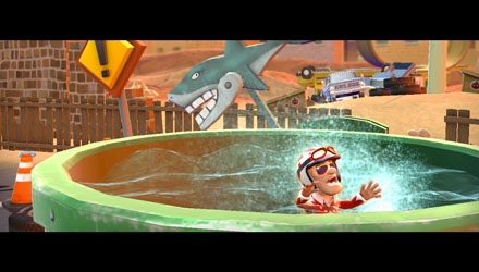 The lengthy 'almost-drowning-in-the-shark-tank' animation. Hilarious, the first time you see it. Not so much after that.
