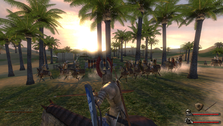 Riding towards the sunset in a beautiful oasis village...