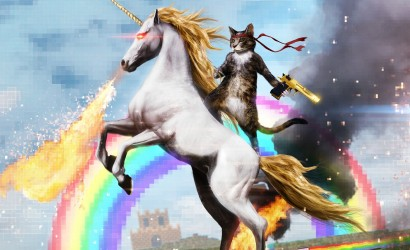 There's not an image I can put in here without giving clues to withheld identities. Instead, please enjoy this picture of a gun-wielding cat riding a fire-breathing unicorn.