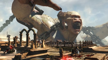 Multiplayer. 4 v 4 battles include secondary goals such as slaying a giant cyclops