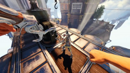 Attacking a bad guy in Bioshock Infinite. Much easier when they're not stuck in scenery...