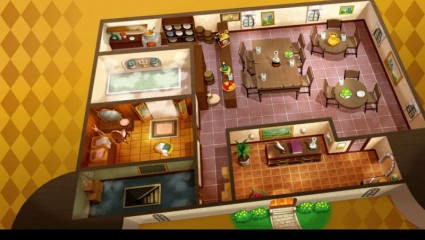 One floor of the inn. You select a room from a list and can move between floors as well to visit shops, and your party