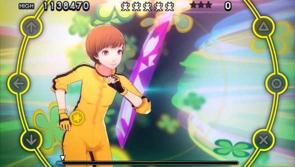 Chie doing her best Bruce Lee impression...