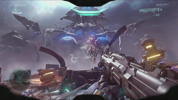 Guns, Robots, even bigger robots...yep, its Halo...